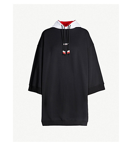 MSGM Beaded cotton-jersey hoody dress (Black 99