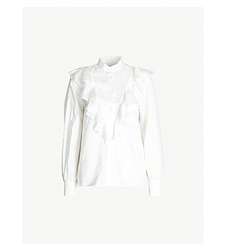 MSGM Ruffle-collar satin shirt (White 01