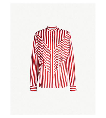 MSGM Striped fringe shirt (Red/wht