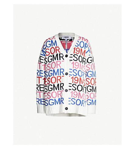 MSGM Logo-intarsia knitted cardigan (White+01