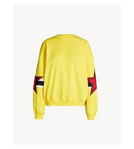 MSGM Star-embroidered cotton-jersey sweatshirt (Yellow 06