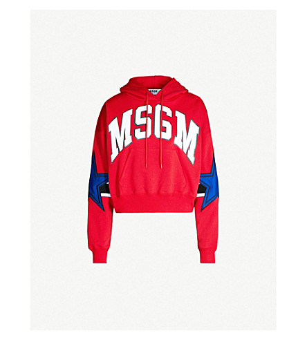 MSGM Logo-print cotton-jersey hoody (Red