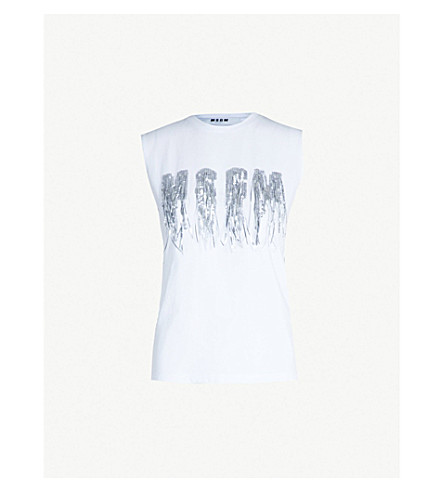 MSGM Fringed sequinned cotton-jersey top (White 01