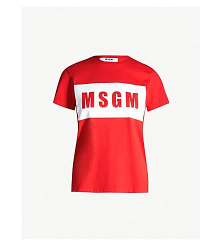 MSGM Logo cotton-jersey T-shirt (Red