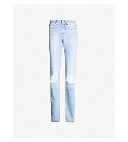 MSGM Ripped tapered mid-rise denim jeans (Blue
