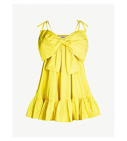 MSGM Bow-embellished woven mini dress (Yellow