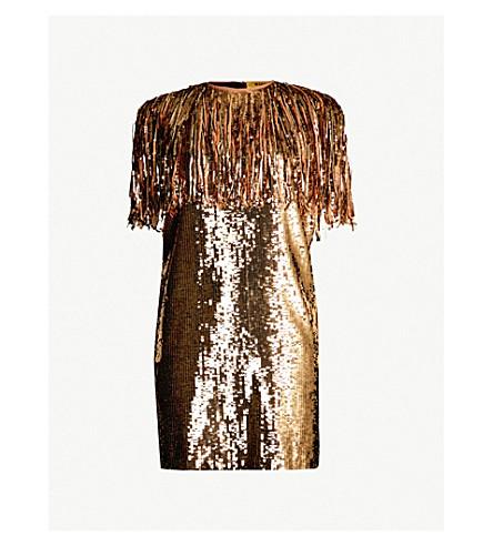 MSGM Fringe-trimmed sleeveless sequin dress (Gold 05