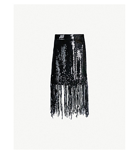 MSGM Fringed sequinned skirt (Black 99