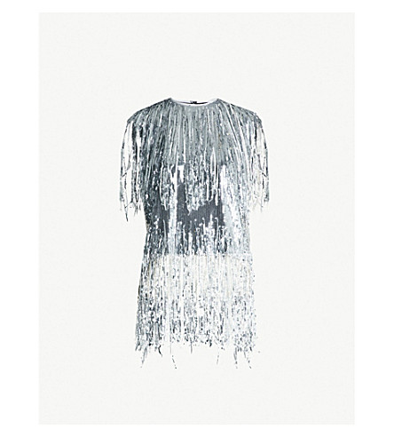 MSGM Fringed sequinned top (Silver 90
