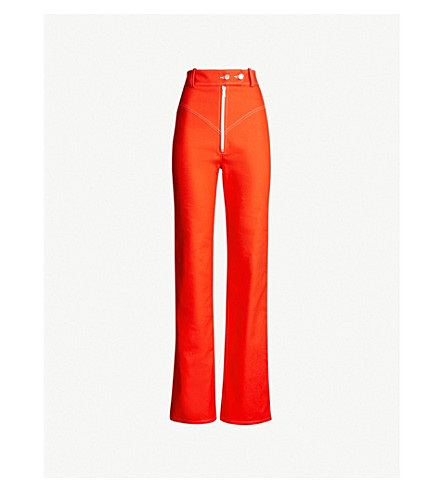 AWAKE High-rise straight-leg cotton trousers (Red