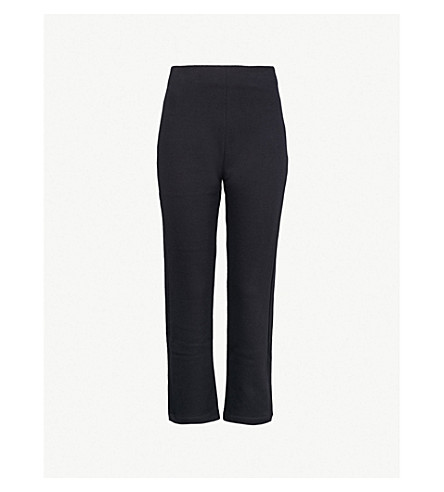 A_PLAN_APPLICATION Skinny high-rise stretch-cotton trousers (Navy