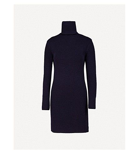 A PLAN APPLICATION Turtleneck wool dress (Navy blue