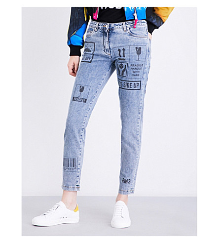 MOSCHINO Printed cropped mid-rise jeans (Blue