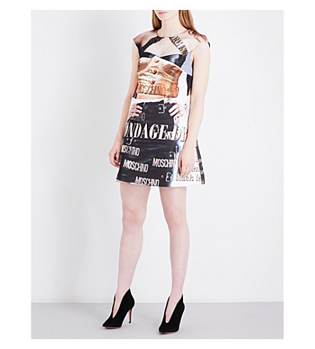 MOSCHINO Bondage printed woven mini dress (Multi