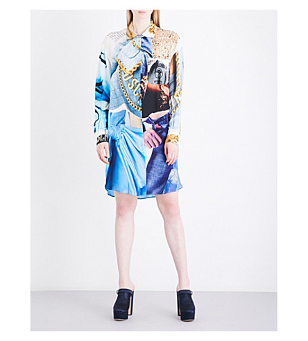 MOSCHINO Printed chiffon shirt dress (Multi