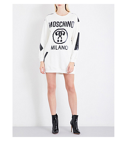 MOSCHINO Logo-print cotton-jersey mini dress (White