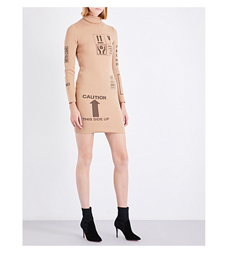 MOSCHINO Box-print wool dress (Brown