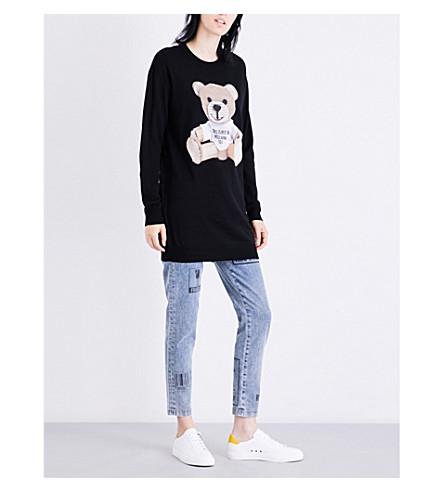 MOSCHINO Teddy Bear-appliqué knitted dress (Black