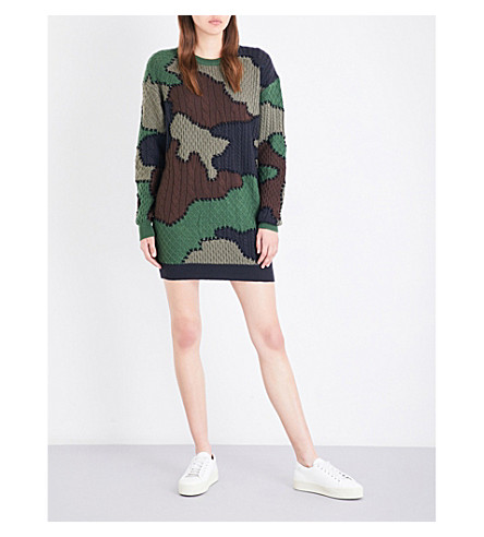 MOSCHINO Camo wool-knitted jumper (Khaki
