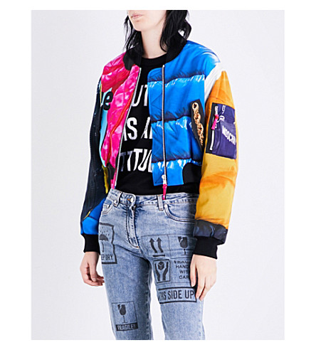MOSCHINO Printed quilted shell bomber jacket (Multi