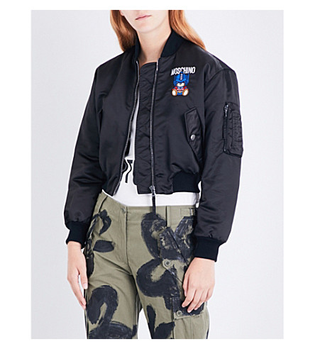 MOSCHINO Transformer Teddy shell bomber jacket (Black