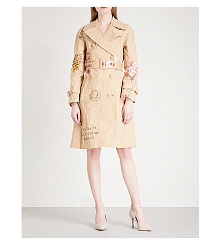 MOSCHINO Box-print faux-suede trench coat (Brown