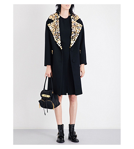 MOSCHINO Button-embellished oversized wool coat (Black