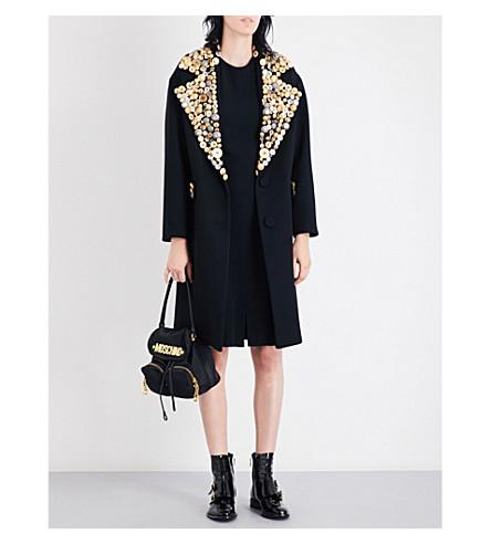 MOSCHINO Button-embellished oversized wool coat (Black