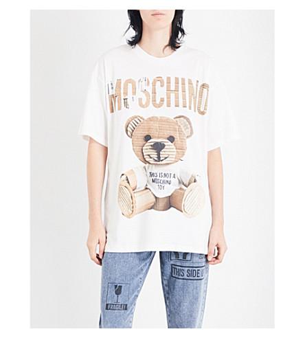 MOSCHINO Teddy Bear-print cotton-jersey T-shirt (White