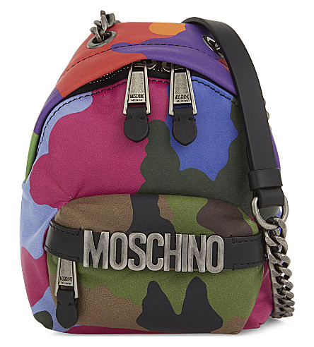 MOSCHINO Camouflage leather mini backpack cross-body bag (Multi