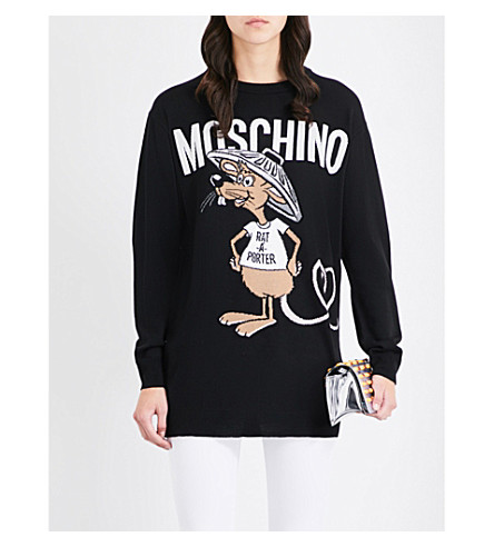 MOSCHINO Rat-A-Porter longline wool sweater (Black