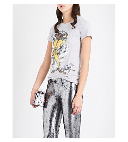 MOSCHINO Rat-print cotton-jersey T-shirt (Grey+melange