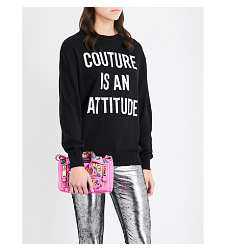 MOSCHINO Couture-knit wool sweater (Black