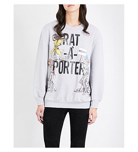 MOSCHINO Rat-A-Porter-print cotton-jersey sweatshirt (Grey+melange