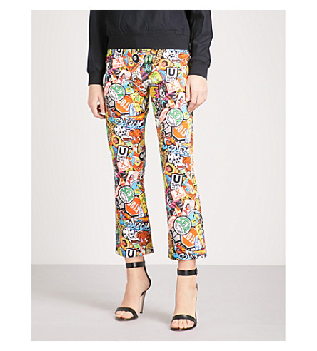 MOSCHINO Assorted-print straight mid-rise cotton-blend trousers (Multi