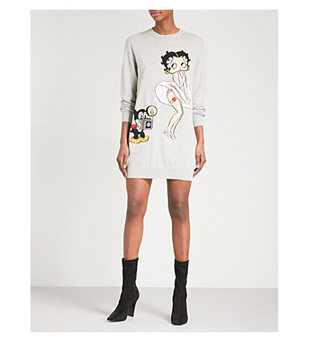 MOSCHINO Betty Boop cotton-jersey jumper dress (Grey
