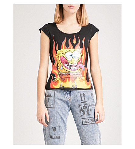 MOSCHINO Flaming Spongebob-print stretch-jersey T-shirt (Black