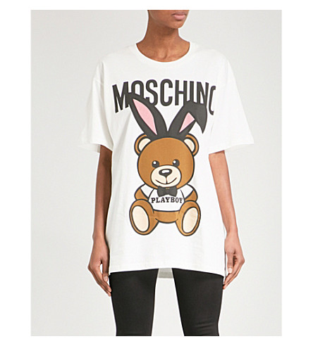 MOSCHINO Teddy Bunny Ears cotton-jersey T-shirt (White