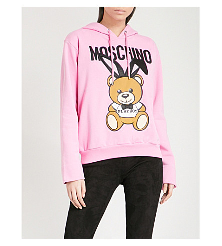 MOSCHINO Bunny Bear cotton-jersey hoody (Pink