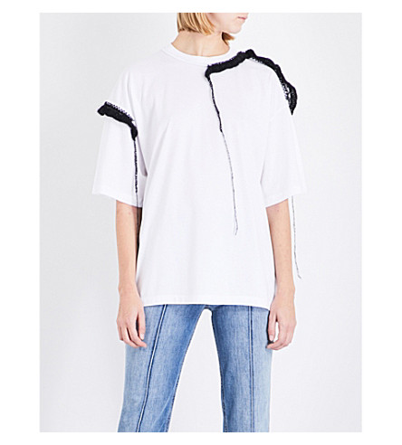 MAISON MARGIELA Embroidered-trim cotton and mohair T-shirt (White
