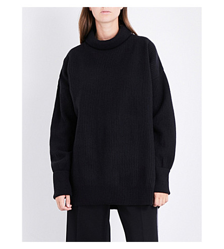 MAISON MARGIELA Drop-shoulder ribbed turtleneck wool-blend jumper (Black