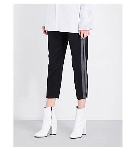 MAISON MARGIELA Contrast-trim tapered high-rise wool and mohair-blend trousers (Black