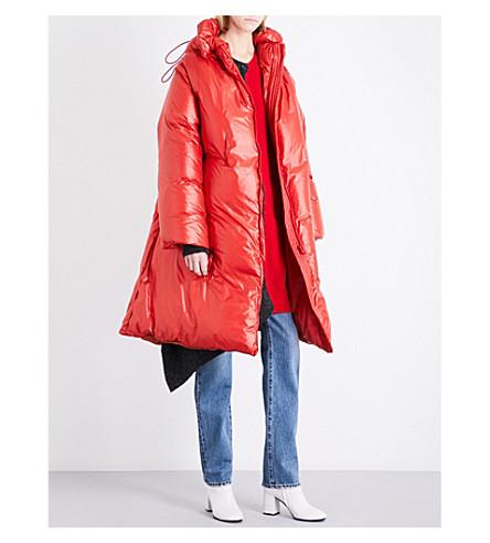 MM6 High-shine padded shell puffer coat (Orange