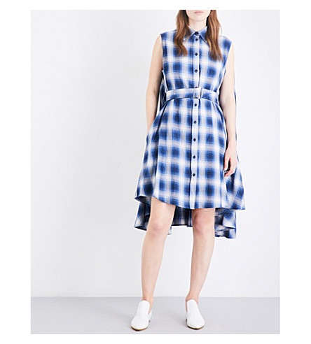 MM6 MAISON MARGIELA Checked cotton shirt dress (Blue check