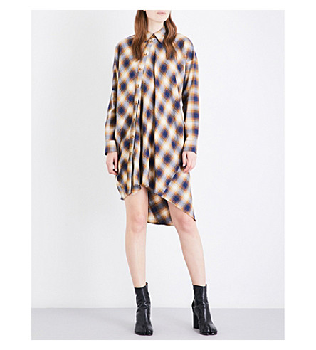 MM6 Checked cotton shirt dress (Mustard+check