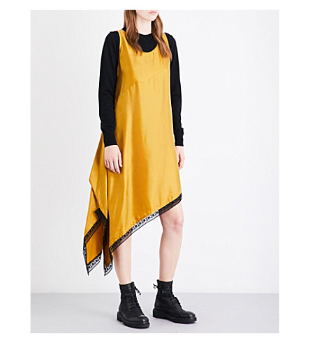 MM6 Asymmetric satin slip dress (Mustard
