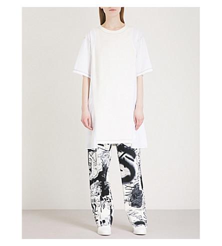 MM6 MAISON MARGIELA Contrast-panel cotton-blend dress (Off+white