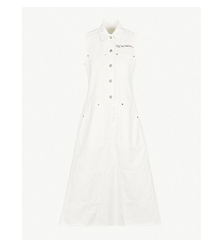 MM6 MAISON MARGIELA Exposed button cotton dress (Off+white