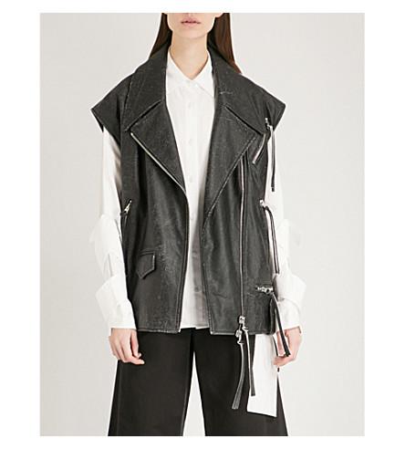 MM6 MAISON MARGIELA Lace-up leather jacket (Black