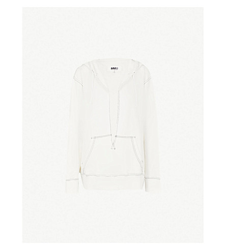 MM6 MAISON MARGIELA Contrast-stitch cotton-blend hoody (Off+white